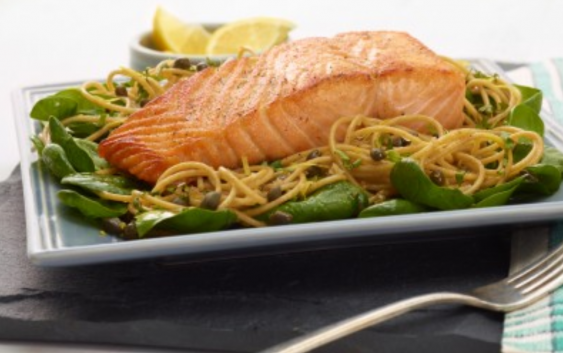 Whole-Wheat Spaghetti with Lemon, Basil, and Salmon