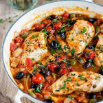 Armenian low-carb chicken Puttanesca, low on calories